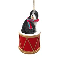 Bearded Collie Little Drummer Christmas Ornament