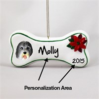 Bearded Collie Personalized Dog Bone Christmas Ornament