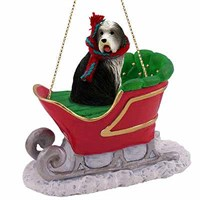 Bearded Collie Sleigh Ride Christmas Ornament