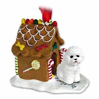 Bichon Frise Christmas Ornament Gingerbread House