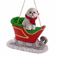 Bichon Frise Christmas Ornament Sleigh Ride