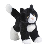 Black And White Cat Plush Stuffed Animal 8 Inch