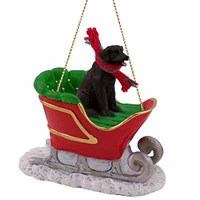 Black Lab Sleigh Ride Christmas Ornament