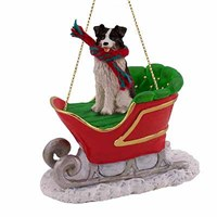 Border Collie Sleigh Ride Christmas Ornament