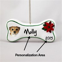 Border Terrier Personalized Dog Bone Christmas Ornament