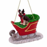 Boston Terrier Sleigh Ride Christmas Ornament