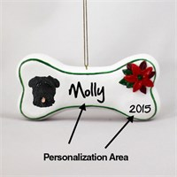 Bouvier Des Flandres Personalized Dog Bone Christmas Ornament Uncropped
