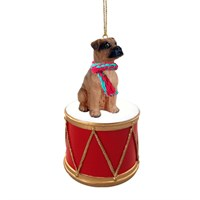 Boxer Tawny Uncropped Little Drummer Christmas Ornament