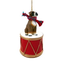 Boxer Uncropped Little Drummer Christmas Ornament