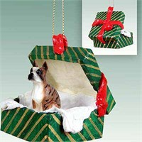 Boxer Christmas Ornament Gift Box Brindle