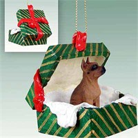 Boxer Christmas Ornament Gift Box Tawny