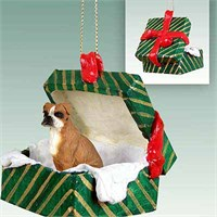 Boxer Gift Box Christmas Ornament Uncropped