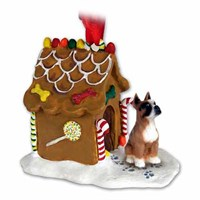 Boxer Christmas Ornament Gingerbread House