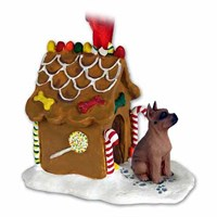 Boxer Christmas Ornament Gingerbread House Tawny