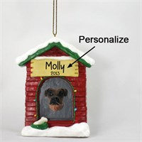 Boxer Personalized Dog House Christmas Ornament Tawny Uncropped