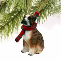 Boxer Tiny One Christmas Ornament Brindle Uncropped