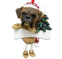 Boxer Christmas Tree Ornament Personalized (Brindle Uncropped)