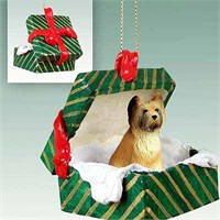 Briard Gift Box Christmas Ornament