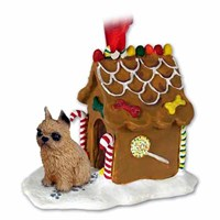 Brussels Griffon Gingerbread House Christmas Ornament Red