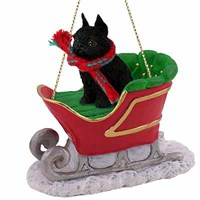 Brussels Griffon Sleigh Ride Christmas Ornament Black