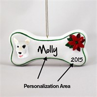 Bull Terrier Personalized Dog Bone Christmas Ornament