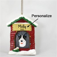 Bull Terrier Personalized Dog House Christmas Ornament Brindle