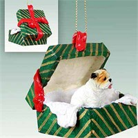 Bulldog Gift Box Christmas Ornament White