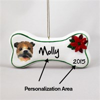 Bulldog Personalized Dog Bone Christmas Ornament