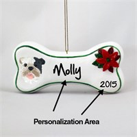 Bulldog Personalized Dog Bone Christmas Ornament Brindle