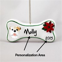 Bulldog Personalized Dog Bone Christmas Ornament White