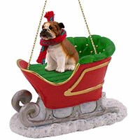 Bulldog Sleigh Ride Christmas Ornament
