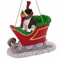 Bulldog Sleigh Ride Christmas Ornament Brindle
