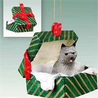 Cairn Terrier Gift Box Christmas Ornament Gray