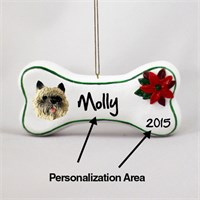 Cairn Terrier Personalized Dog Bone Christmas Ornament