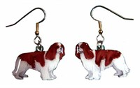 Cavalier King Charles Earrings Brown/White Hand Painted Acrylic