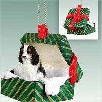 Cavalier King Charles Spaniel Gift Box Christmas Ornament Black and White