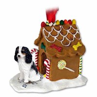 Cavalier King Charles Spaniel Gingerbread House Christmas Ornament Black and White