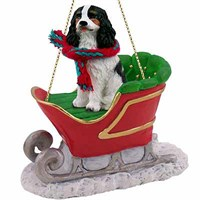 Cavalier King Charles Spaniel Sleigh Ride Christmas Ornament Black and White