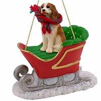 Cavalier King Charles Spaniel Sleigh Ride Christmas Ornament Brown-White