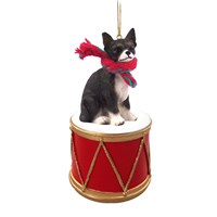 Chihuahua Black-White Little Drummer Christmas Ornament