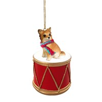 Long Hair Chihuahua Little Drummer Christmas Ornament