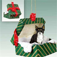 Chihuahua Gift Box Christmas Ornament Black-White
