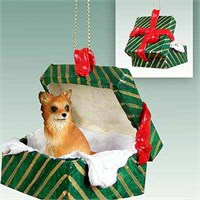Chihuahua Christmas Ornament Gift Box Longhaired
