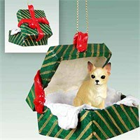 Chihuahua Gift Box Christmas Ornament Tan-White