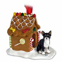Chihuahua Gingerbread House Christmas Ornament Black-White