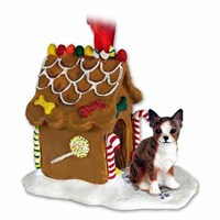 Chihuahua Christmas Ornament Gingerbread House Brindle-White
