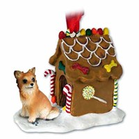 Chihuahua Christmas Ornament Gingerbread House Longhaired