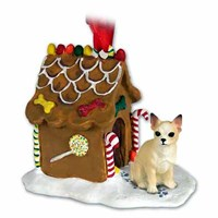 Chihuahua Christmas Ornament Gingerbread House Tan and White