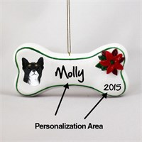 Chihuahua Personalized Dog Bone Christmas Ornament Black-White