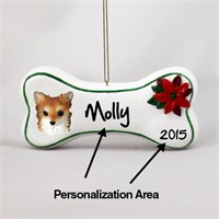 Chihuahua Personalized Dog Bone Christmas Ornament Long Hair